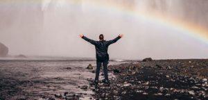 waterfall rainbow 1 guy
